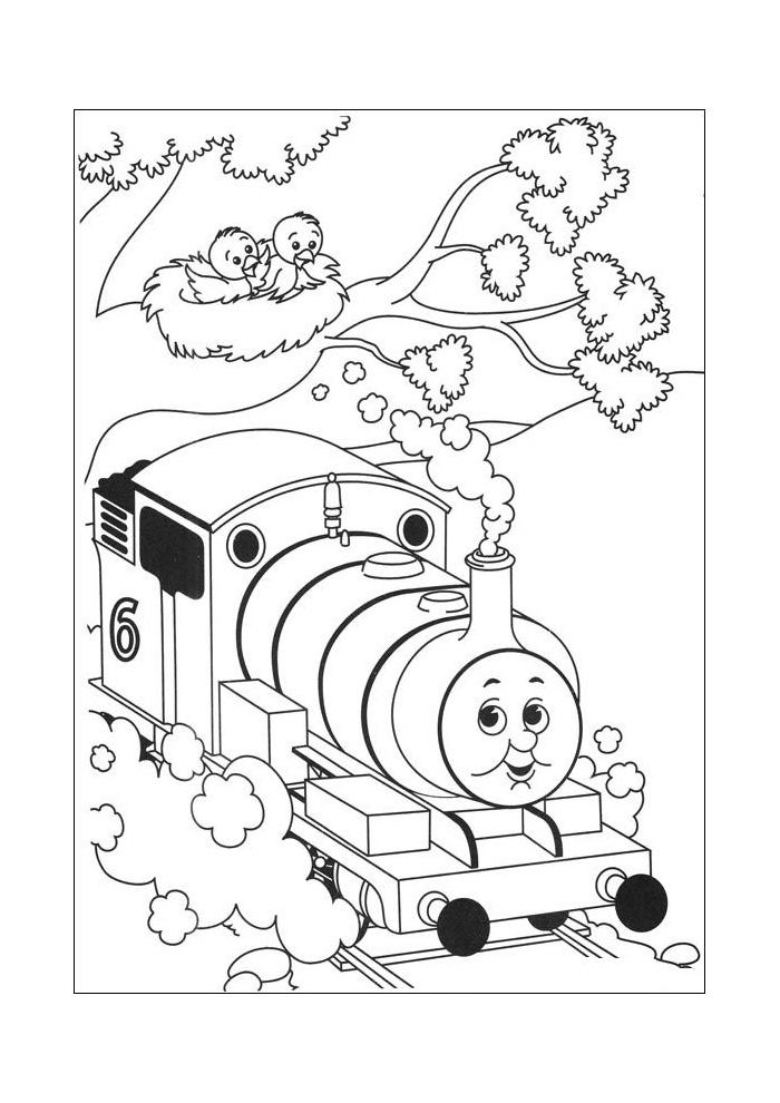 Thomas de trein - twee vogeltjes kijken naar thomas